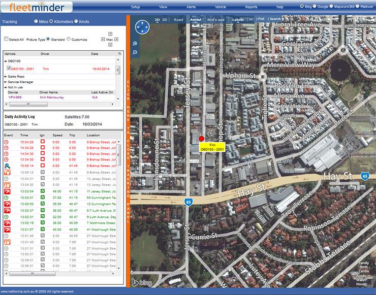 Fleetminder live tracking screen map