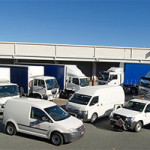 Fleet GPS tracking vehicles in parking lot