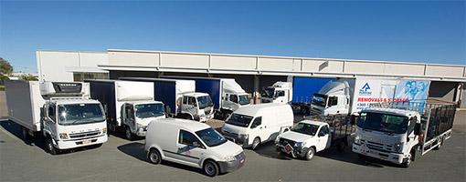 Fleet GPS tracking vehicles in parking lot
