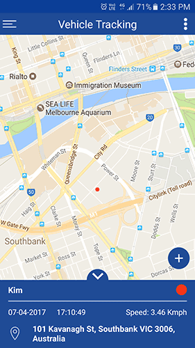 Fleetminder GPS tracker mobile app fleet on Google map
