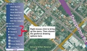 fleetminder GPS tracking draw geofence