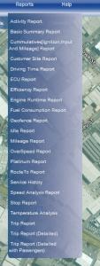 fleetminder reports GPS tracking list
