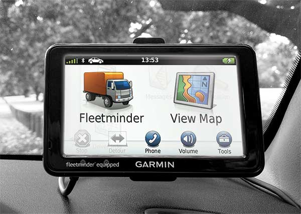 Garmin screen tracking maps for the driver