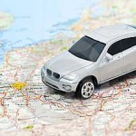 GPS car tracking device on map