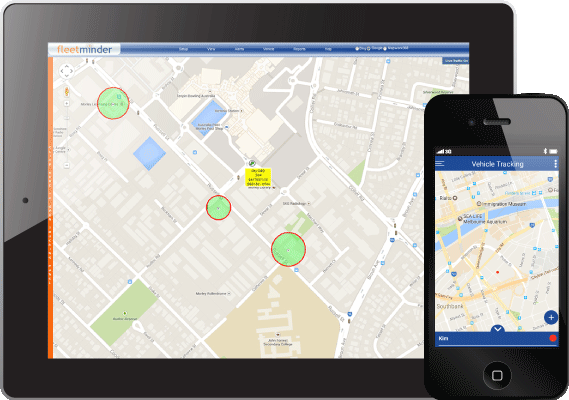 Fleetminder GPS tracking mobile app views