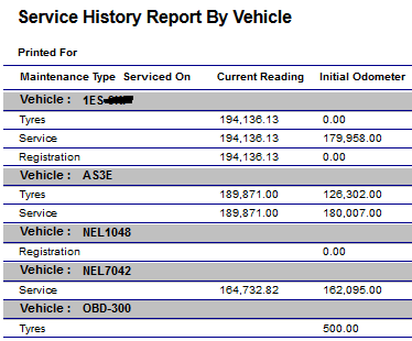 Vehicle service history report from tracking data