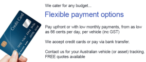 Vehicle Tracking in Australia with flexible payment options